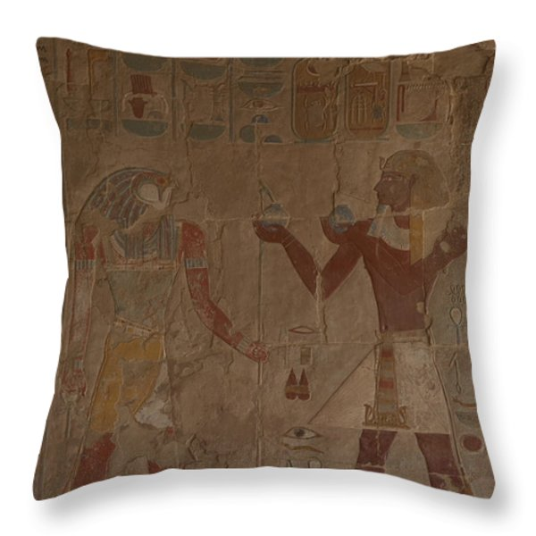 Horus Is Shown Receiving Gifts Throw Pillow by Taylor S. Kennedy