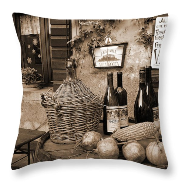 Hostaria alla Rocca Throw Pillow by Donna Corless
