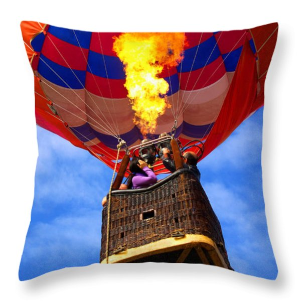 Hot Air Balloon Throw Pillow by Carlos Caetano