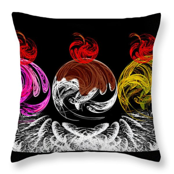 Hot Fudge Ice Cream Boat Throw Pillow by Andee Design