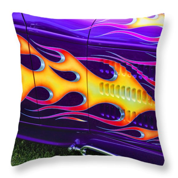 Hot rod with custom flames Throw Pillow by Garry Gay