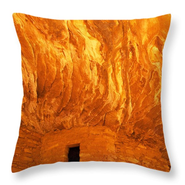 House On Fire Ruin Portrait 3 Throw Pillow by Bob and Nancy Kendrick