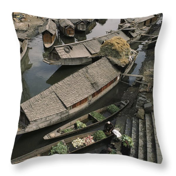 Houseboats Line A Waterway Throw Pillow by Gordon Wiltsie