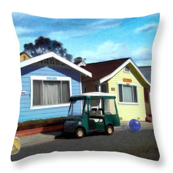 Houses in a Row Throw Pillow by Snake Jagger