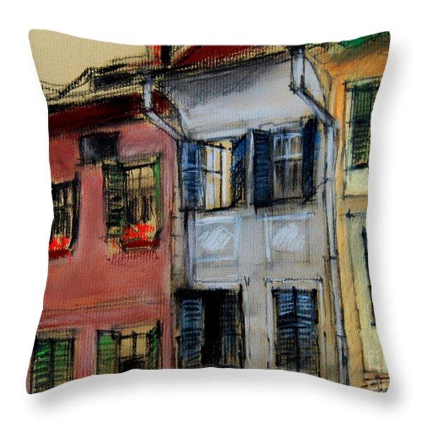 Houses In Transylvania 1 Throw Pillow by Mona Edulesco