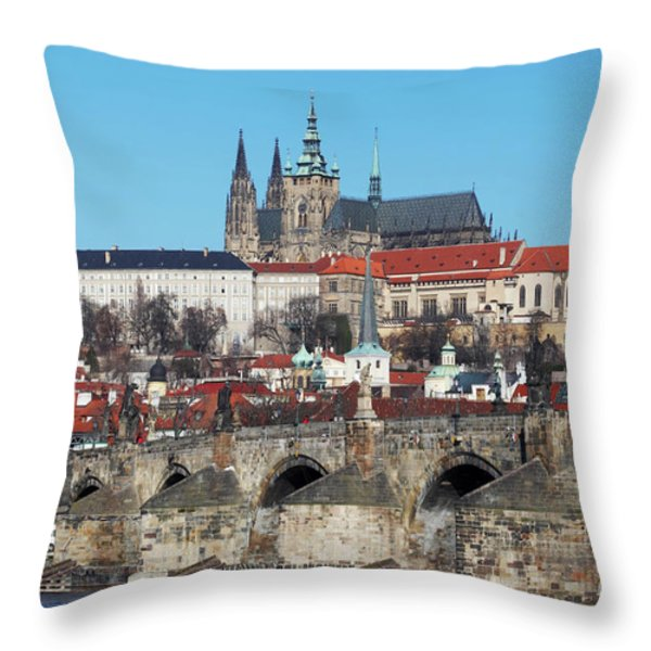 Hradcany - cathedral of St Vitus and Charles bridge Throw Pillow by Michal Boubin