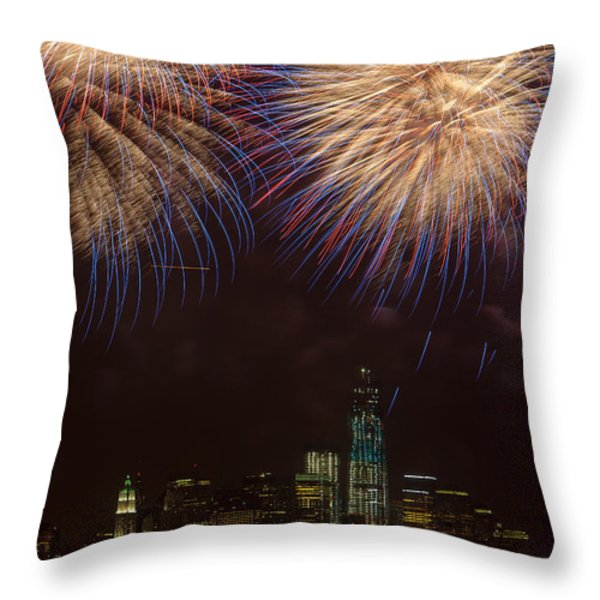 Hudson River Fireworks Xi Throw Pillow by Clarence Holmes