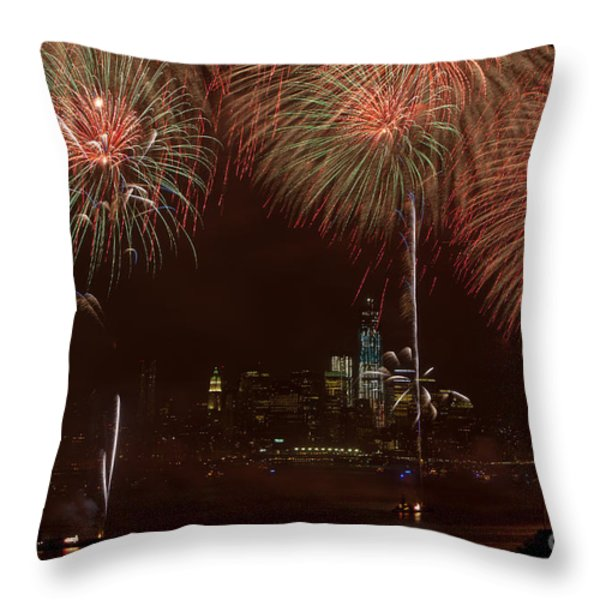 Hudson River Fireworks XII Throw Pillow by Clarence Holmes