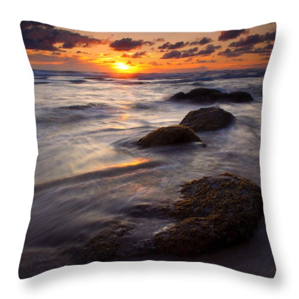 Hug Point Tides Throw Pillow by Mike  Dawson