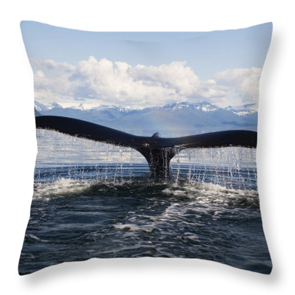 Humback Whale Diving With Tail Flukes Throw Pillow by James Forte