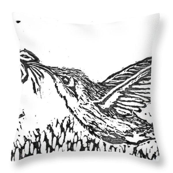 Hummingbird  block print Throw Pillow by Ellen Miffitt