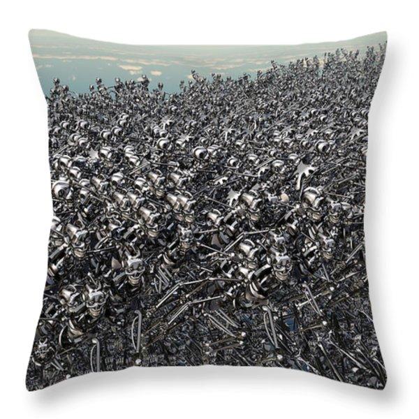 Hundreds Of Robots Running Wild Throw Pillow by Mark Stevenson