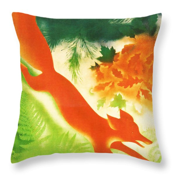 Hunting In The Ussr Throw Pillow by Nomad Art And  Design
