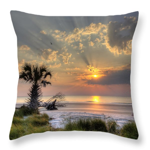 Hunting Island Sc Sunrise Palm Throw Pillow by Dustin K Ryan