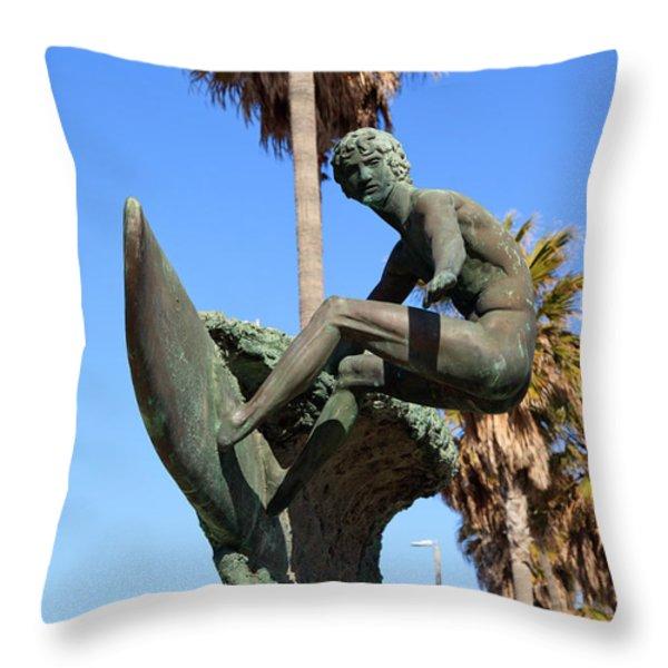 Huntington Beach Surfer Statue Throw Pillow by Paul Velgos