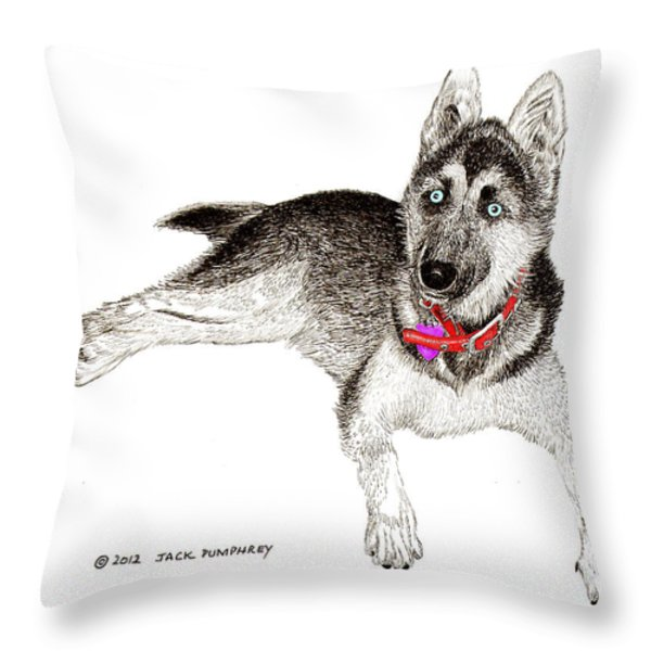 Husky with blue eyes and red collar Throw Pillow by Jack Pumphrey