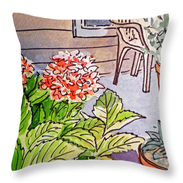 Hydrangea Sketchbook Project Down My Street Throw Pillow by Irina Sztukowski