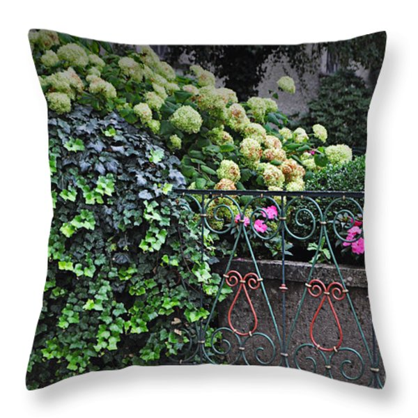 Hydrangeas Salzburg Throw Pillow by Mary Machare