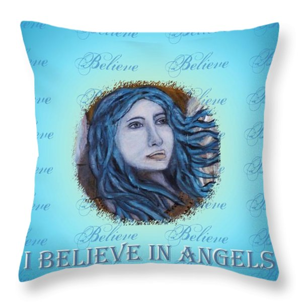 I Believe In Angels Throw Pillow by The Art With A Heart By Charlotte Phillips