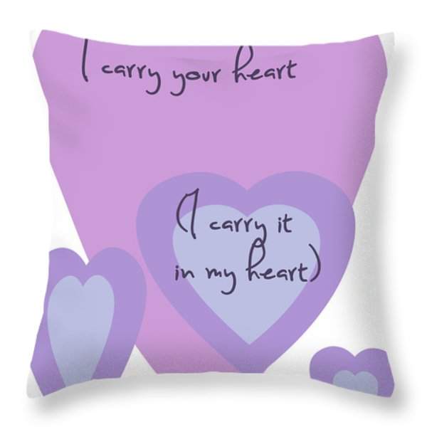 i carry your heart i carry it in my heart - lilac purples Throw Pillow by Nomad Art And  Design