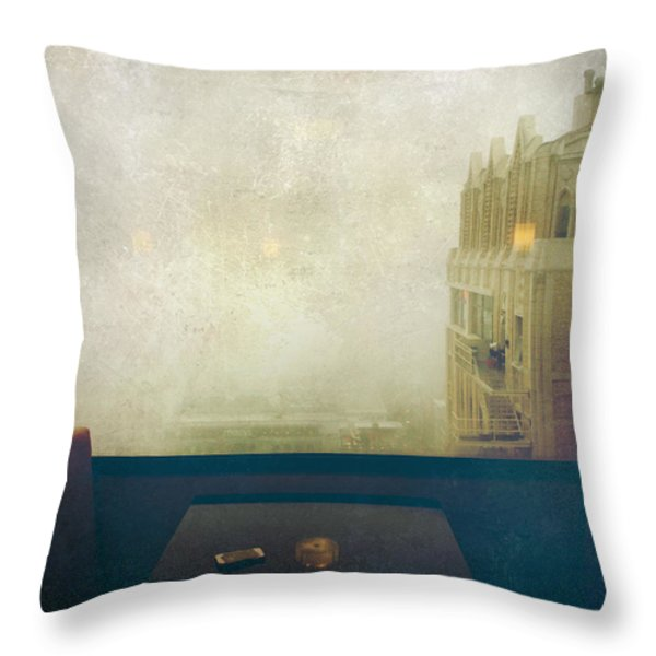 I Just Sat There Staring Out At The Fog Throw Pillow by Laurie Search