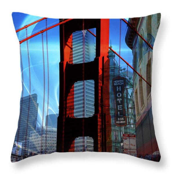 I Left My Heart In San Francisco . Golden Gate Bridge . Transamerica Pyramid . North Beach Throw Pillow by Wingsdomain Art and Photography