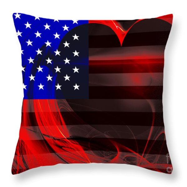 I Love America Throw Pillow by Wingsdomain Art and Photography