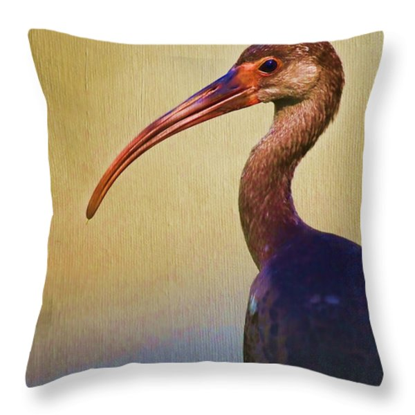 Ibis Nature Pose Throw Pillow by Deborah Benoit