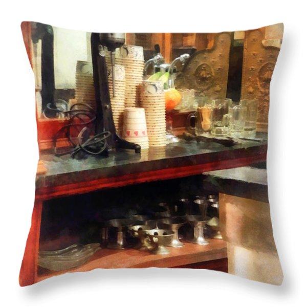 Ice Cream Parlor Throw Pillow by Susan Savad