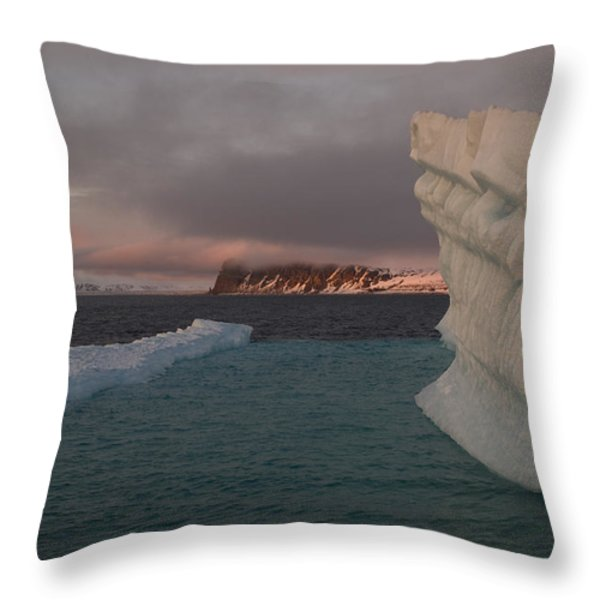 Ice Formations Float In Blue Water Throw Pillow by Norbert Rosing