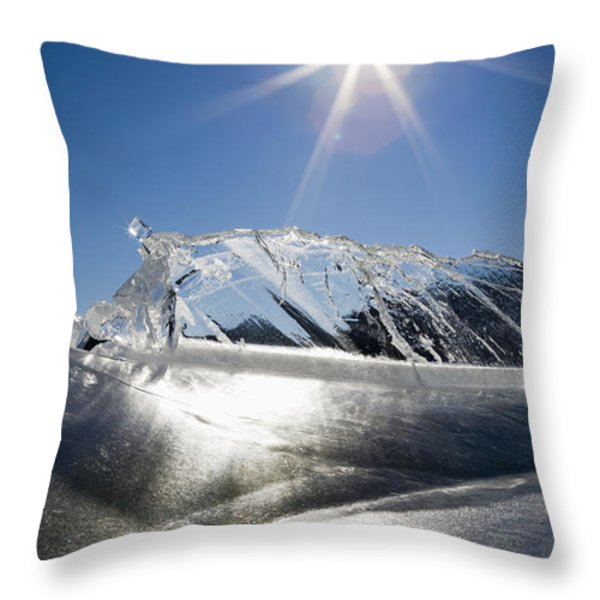 Ice Formations On A Frozen Lake Throw Pillow by Michael Interisano