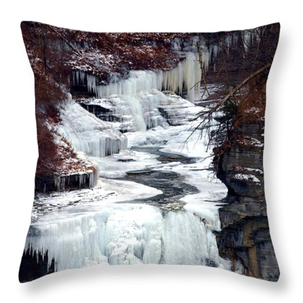 Icy waterfalls Throw Pillow by Paul Ge
