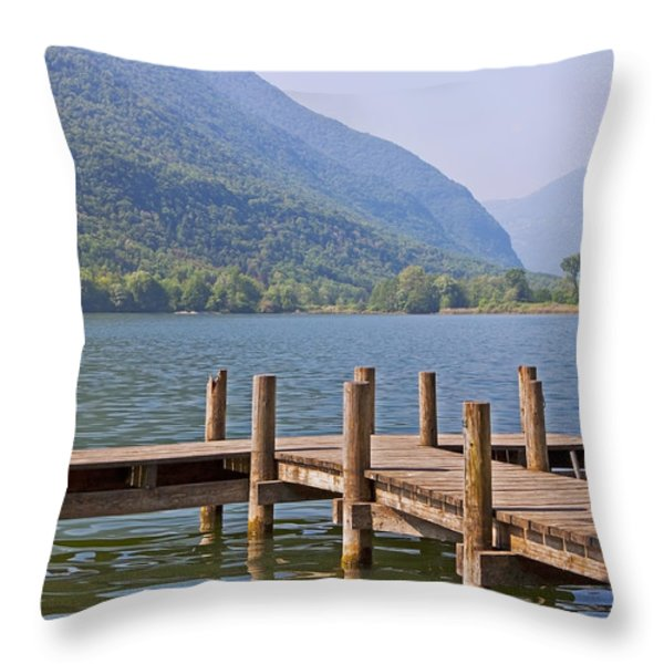 idyllic tarn in Italy Throw Pillow by Joana Kruse
