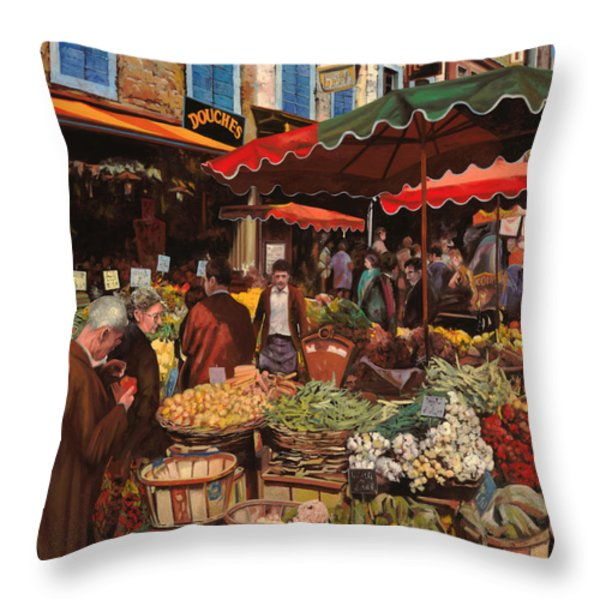 il mercato di quartiere Throw Pillow by Guido Borelli