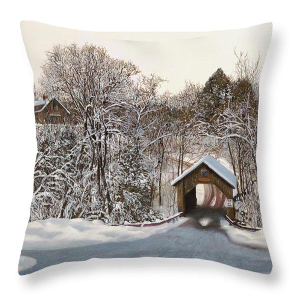 il ponte coperto di legno Throw Pillow by Guido Borelli