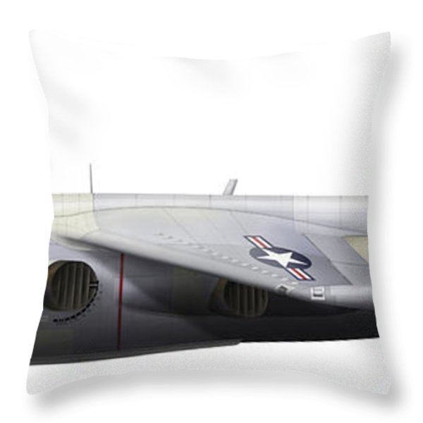 Illustration Of A Hawker P1127 Kestrel Throw Pillow by Chris Sandham-Bailey