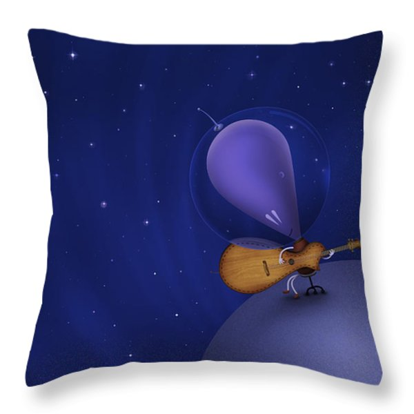 Illustration Of A Martian Playing Throw Pillow by Vlad Gerasimov