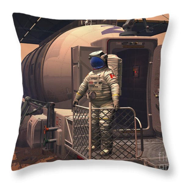 Illustration Of An Astronaut Leaving Throw Pillow by Walter Myers
