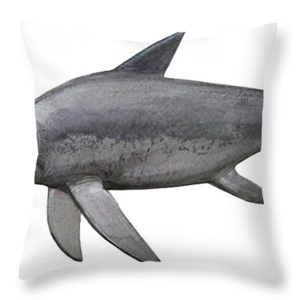 Illustration Of An Eurhinosaurus Throw Pillow by Sergey Krasovskiy