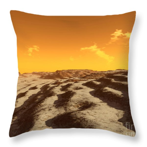 Illustration Of Terraced Terrain Throw Pillow by Ron Miller