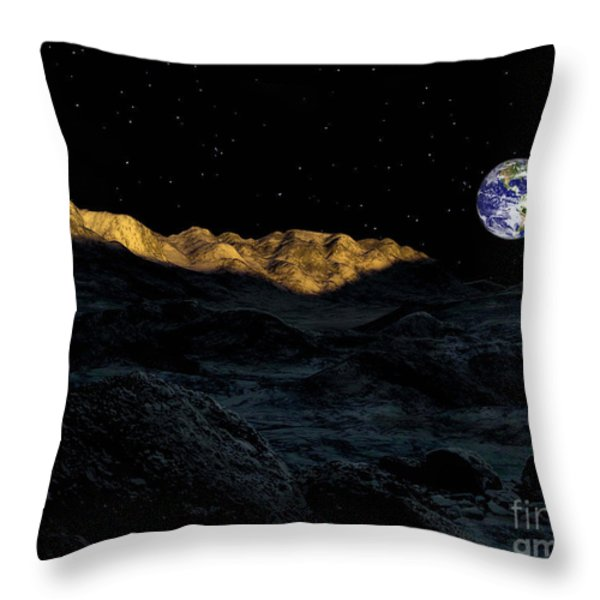 Illustration Of The Peaks Surrounding Throw Pillow by Ron Miller