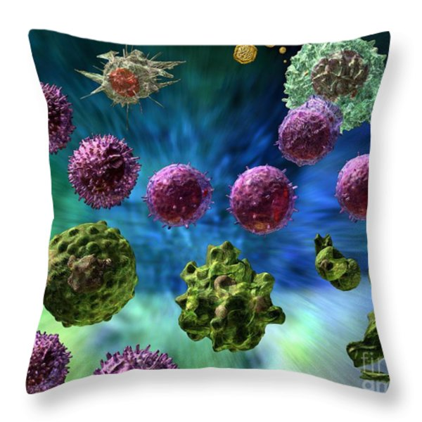 Immune Response Cytotoxic 1 Throw Pillow by Russell Kightley