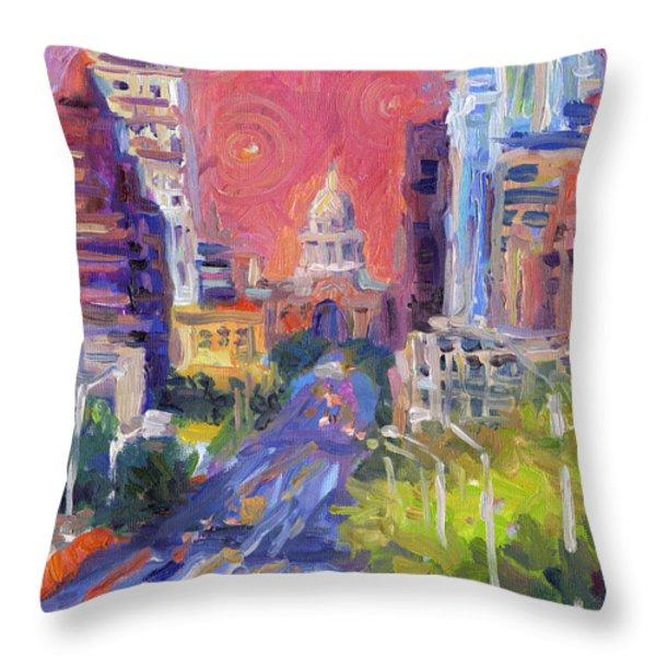 Impressionistic Downtown Austin City Painting Throw Pillow by Svetlana Novikova