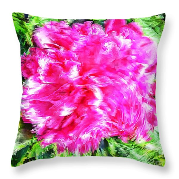 Impressionistic  Peony Throw Pillow by Barbara Griffin