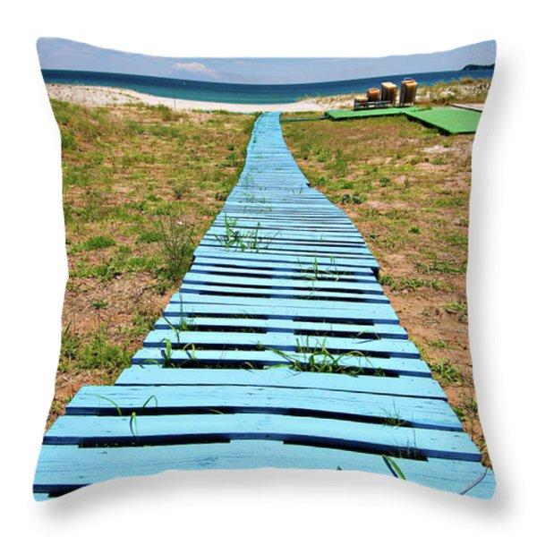Improvised Boardwalk Throw Pillow by Meirion Matthias