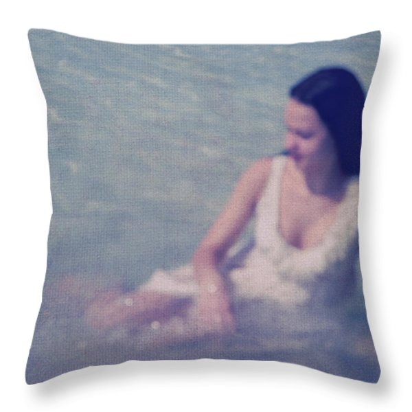 In Blue. Impressionism Throw Pillow by Jenny Rainbow