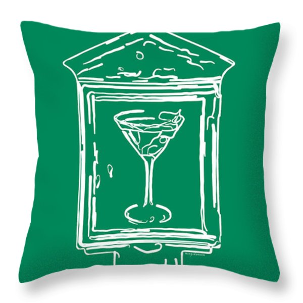 In Case Of Emergency - Drink Martini - Green Throw Pillow by Wingsdomain Art and Photography