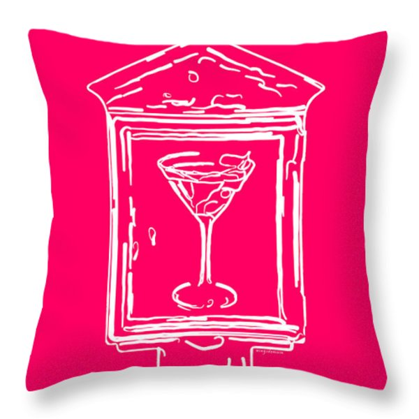 In Case Of Emergency - Drink Martini - Pink Throw Pillow by Wingsdomain Art and Photography