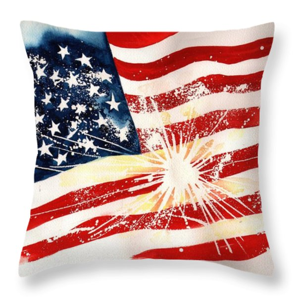 Independence Day Throw Pillow by Sharon Mick