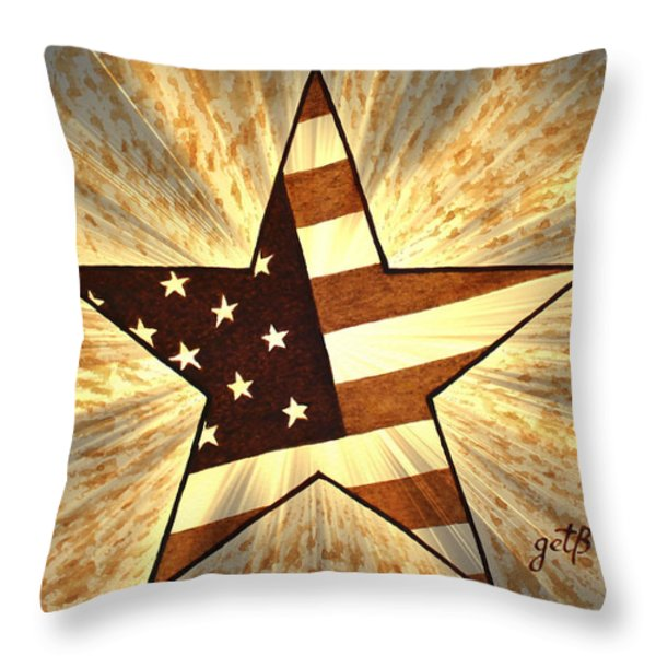 Independence Day Stary American Flag Throw Pillow by Georgeta  Blanaru